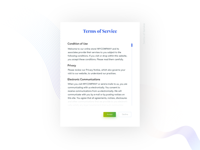 Terms of Service- Daily UI:: #089 ux ui service of terms policy privacy mobile dailyui decline accept 089