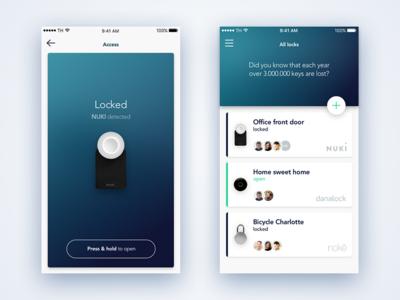 Smart Locks App unlock ios ui app key lock iot smart home smart lock