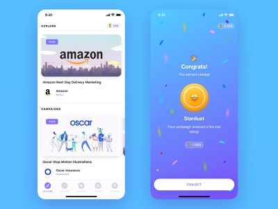 User generated content for better marketing material branding design iphone ios marketing platform ux ui cards content creation influencer badges gamification social media app