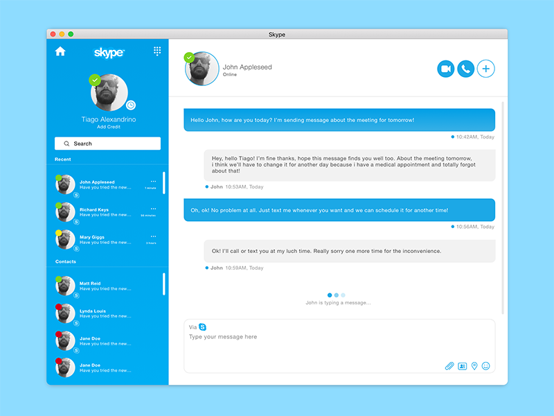 Skype Redesign by Tiago Alexandrino on Dribbble