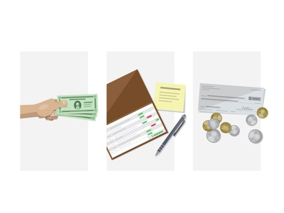 Financial Illustrations illustrations coins change checkbook check money finance