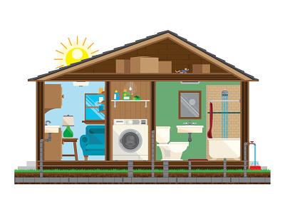 House Cutaway plumbing water illustration cutaway house