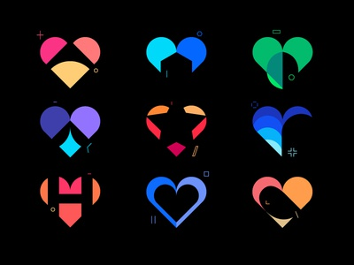 Icons of Heart ux ui vector design icon icon set heart branding best shots cool colors good design clean design