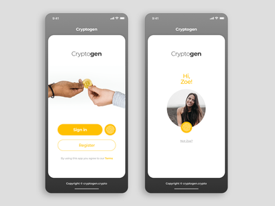 Login Screens for a Crypto Currency APP