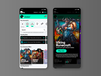 Sports Betting App Home Page UX/UI Design