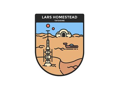 Star Wars : Tatooine, Lars homestead star wars tatooine minimalist illustration badge