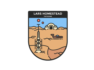Star Wars : Tatooine, Lars homestead star wars tatooine minimalist illustration badge