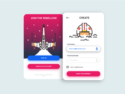 Rebel mobile app sign up sign up sign in log in mobile app star wars minimalist empire rebel smartphone application