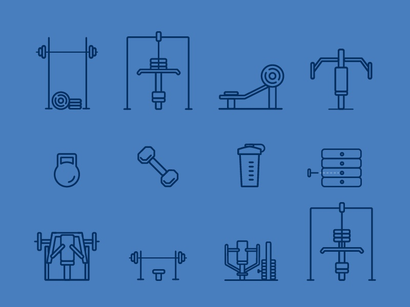Gym Equipment Icons gym icons workout app workout ui app design illustration icons iconography icon design gym