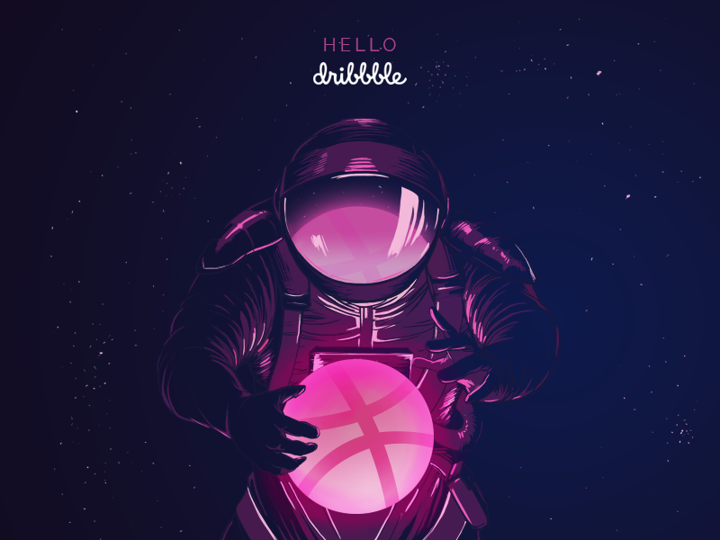 Hello Dribbble! illustration pink astronaut stars space dribbble hello