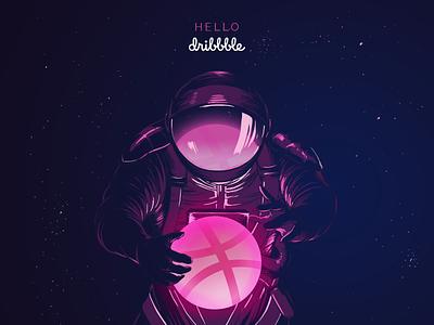 Hello Dribbble! illustration pink astronaut stars space dribbble hello