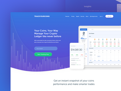 Track your coins landing page