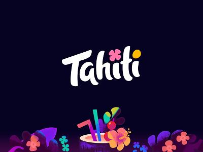 Tahiti lettering tropical palms cocktail game illustration design branding logotype logo