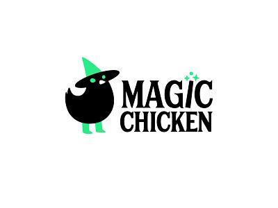 Magic Chicken magic wand chick wizard magician sorcerer magic chicken branding mascot cute logotype character logo