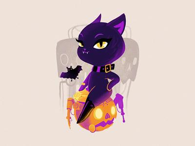 Halloween lady lady bat halloween steampunk pumpkin design cat mascot illustration cute character