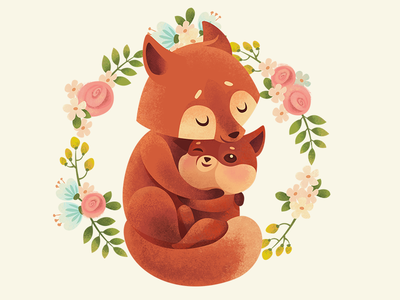 Mother's Day Card hug fox tenderness love mother greeting card