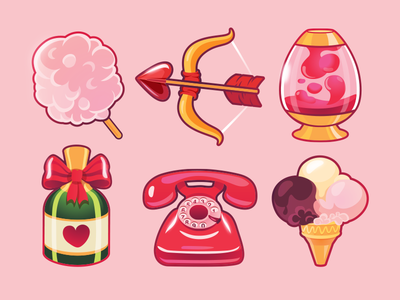 Love Is In The Air valentine cotton candy heart lava lamp telephone ice-cream icons flirt romance love