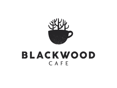 Blackwood cafe cup coffee tree forest woods blackwood logo