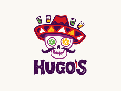 Hugo's day of the dead tequila chili sombrero skull mexican logo restaurant bar