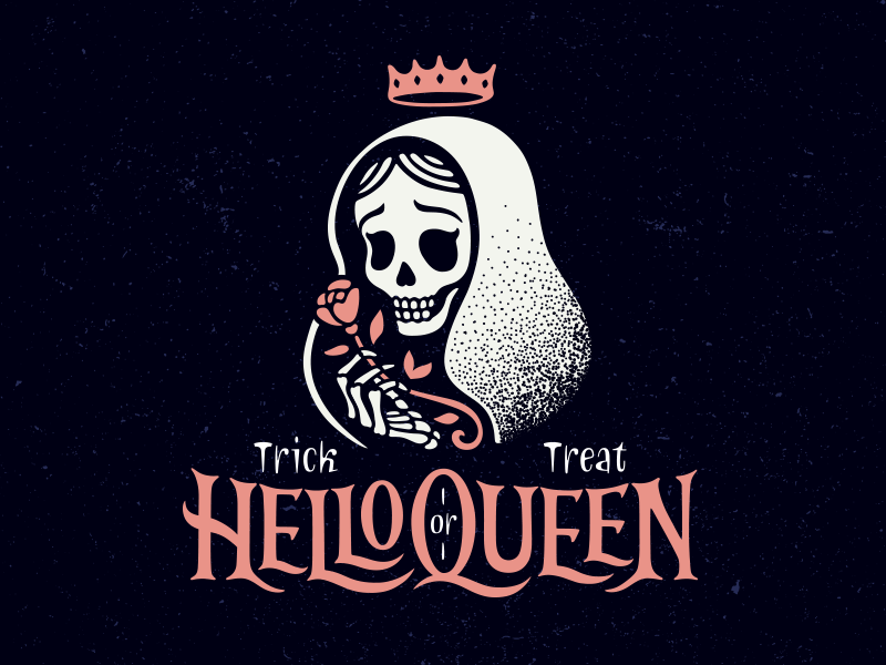 HelloQueen day of the dead treat trick skull rose crown hello queen logo halloween
