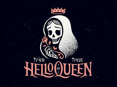 HelloQueen day of the dead treat trick skull rose crown hello queen logo halloween