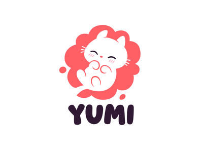 Yumi animal character cute cat logo branding mark mascot character cute kitten logo cat