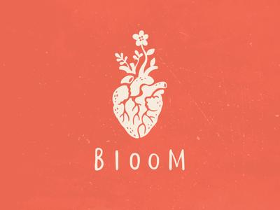 Bloom valentine mark logo concept love flower bloom heart