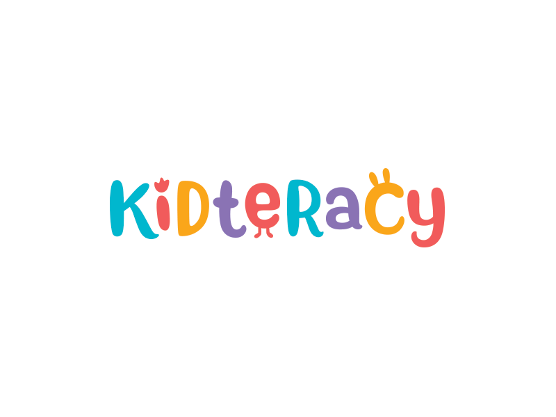 Kidteracy letters typography logotype color logo books literature children kids publisher book