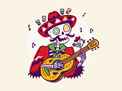 Hugo's guitar tequila sombrero skeleton design package identity illustration concept bar restaurant mexican