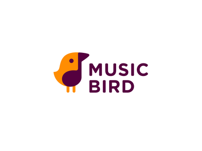 Music Bird key simple logotype note cute logo bird music