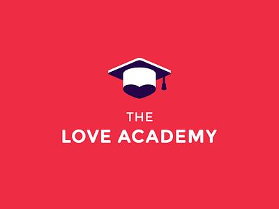 The Love Academy love logo icon mark heart hat graduation logotype academy