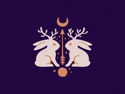 Legends of the North moon bunny emblem logotype logo north legends myth jackrabbit jackalope mystic