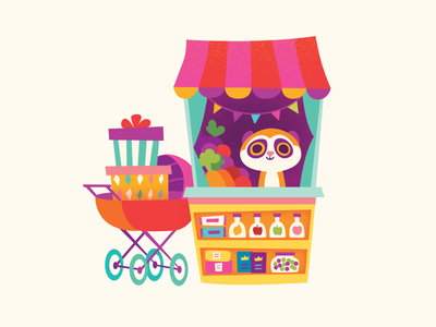 Lemur mall children food shop lemur character cute kids illustration map illustrated map