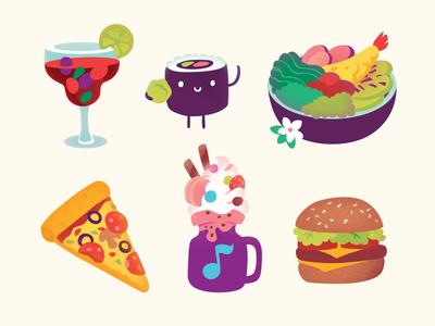 Crocus Food ice-cream hamburger cocktail pizza illustration cute asian sushi shop food children mall