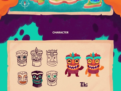 Aloha game cartoon island lettering logo mascot color character tiki aloha hawaii