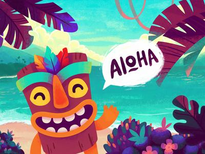 Aloha Tiki design mascot charcter illustrations game island hawaii tiki aloha