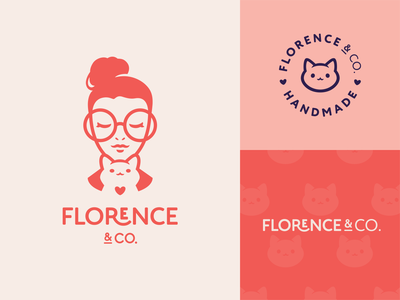 Florence & Co. gift mark girl heart icon cat illustration cute character logotype logo