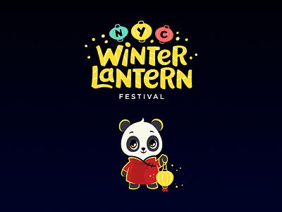 NYC Winter Lantern Festival holiday new year christmas lights festival winter lantern panda nyc mascot illustration cute character logotype logo