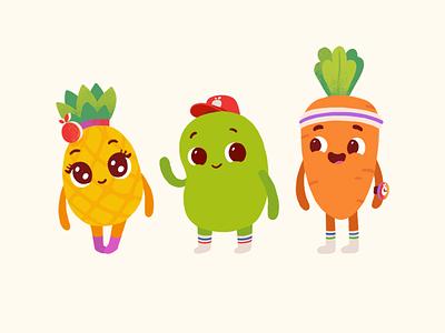 Juicy Bean vegetables fruits cute pinapple carrot bean charcater mascot