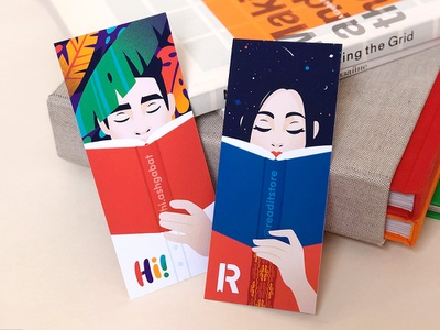 Bookmarks hiwow branding bookmark book reading space jungle man girl character illustraion