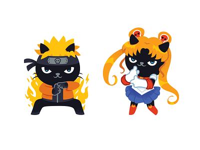 Aiwanju Stickers cat illustration illustrator character anime cat stickers illustration