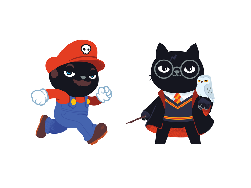 Aiwanju Stickers harrypotter mario illustrator illustration character cat illustration cat