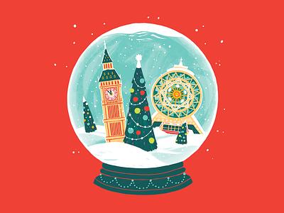 Christmas Card christmas tree snowball turkmenistan alem bigben ashgabat london new year christmas card christmas illustration