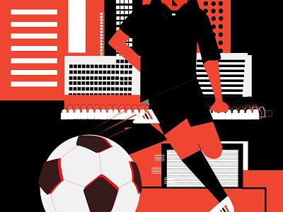 Fifa adidas crowd buildings city design daily illustration 2d fifa futbol soccer