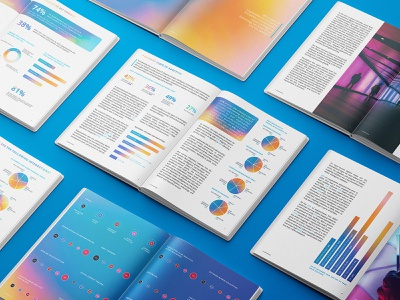 Indoor Intelligence 2021 Annual Report editorial design holographic book magazine print infographic data visualization iridescent brochure technology smart office annual report