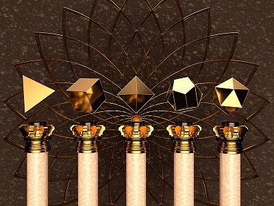 Platonic Solids cgi shapes alchemy geometric gold geometry