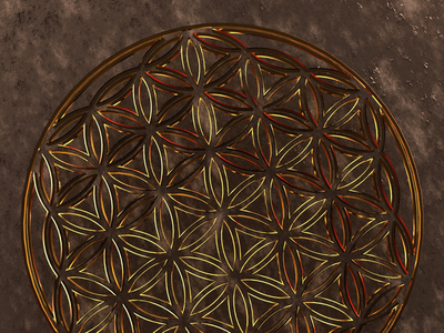 Flower of Life abstract gold lineart sacredgeometry 3d illustration cgi geometry