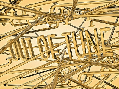 Out of Tune musical music cinema4d abstract gold lettering type typography 3d cgi