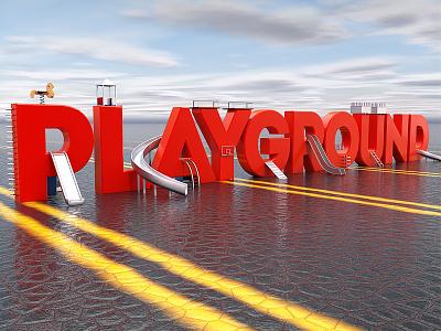 PLAYGROUND c4d cinema4d typography type digitalart cgi contest playground dribbble wix