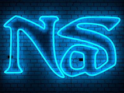 Nas Neon logo hiphop cinema4d vibrant color bright type digitalart cgi typography neon